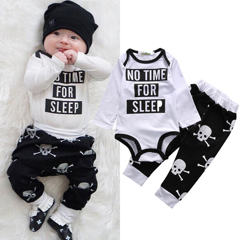 06ce7caa60ab49 2016 Newborn Infant Baby Boy Girl Clothes Fashion Toddler Kids Autumn  Spring Long Sleeve Romper Bodysuit Skull Pant 2pcs Outfit