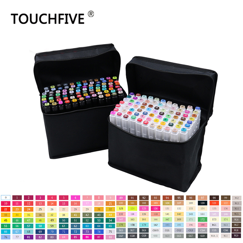 Touchfive 30 40 60 80 168 Colors Pen Marker Set Dual Head Sketch Markers Brush Pen For Draw Manga Animation Design Art Supplies touchfive marker 60 80 168 color alcoholic oily based ink marker set best for manga dual headed art sketch markers brush pen