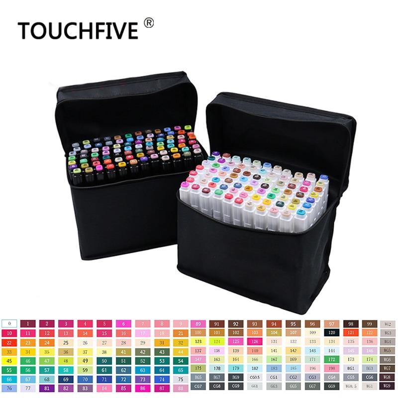 Touchfive 30 40 60 80 168 Farben Stift Marker Set Dual Kopf Skizze Marker Pinsel Stift Für Draw Manga Animation design Kunst Liefert