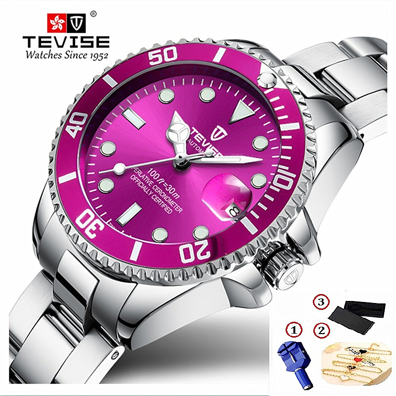 Brand TEVISE Quartz Women Bracelet Watches Stainless Steel Ladies Waterproof Wrist Watches For Woman Watch Casual Dropshipping
