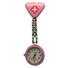 For Nurse Doctor Protable Watches With Clip Red Cross Brooch Pendant Pocket Hanging Nurses Medical Quartz Watch