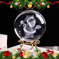 80mm Santa Claus Crystal Ball 3D Laser Engraved Miniature Glass Globe Christmas Decorations for Home Gift New Year Ornament