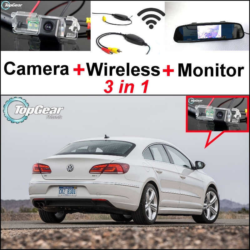 ФОТО 3 in1 Special Rear View Camera + Wireless Receiver + Mirror Monitor Easy DIY Back Up Parking System For VW Volkswagen Passat CC