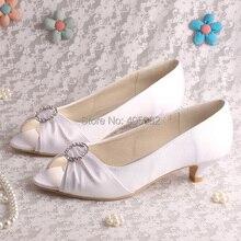ร้อนขายผ้าซาตินสีขาวสบายรองเท้าปากตื้นรองเท้าแต่งงานต่ำส้น