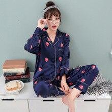 Vrouwen Zijde Satijn Pyjama Pyjama Set 2019 Leuke Ontwerp 2 stks Nacht Shirts Broek Homewear Voor Vrouwelijke Meisje Nachtkleding pak