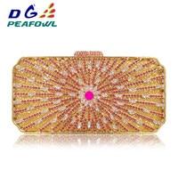 Luxury Gold Crystal Flower Women Evening Bag Peacock Diamond Party Purse Women Chain Handbags Wedding Bag Day Clutches