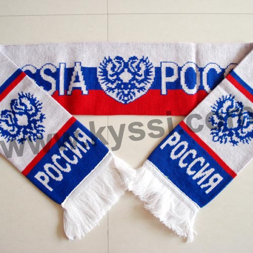 Russia National Flag Knitting Jacquard Footall Scarf Knitted Soccer