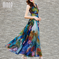 Bohemian Style Summer Luxury Pure Silk Floral Dress Fit Waist And Fare Long Silk Beach Holiday