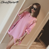 Plus Size Hole 2017 Summer T Shirt Korean Style Loose Half Sleeve Hollow Out Tee Fashion