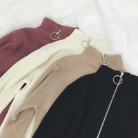Zipper Turtleneck Solid Women Sweater Skinny Elastic Knitted Full Sleeve Pullover Feminino Soft Femme Spring Jumper High Quality 1