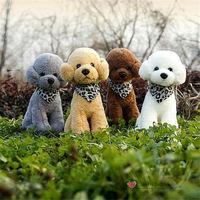Free shipping 1PC Retail Life like Teddy Poodle Dogs Bichon Frise Plush Toy Triangular Scarf stuffed warm soft animals kids gift
