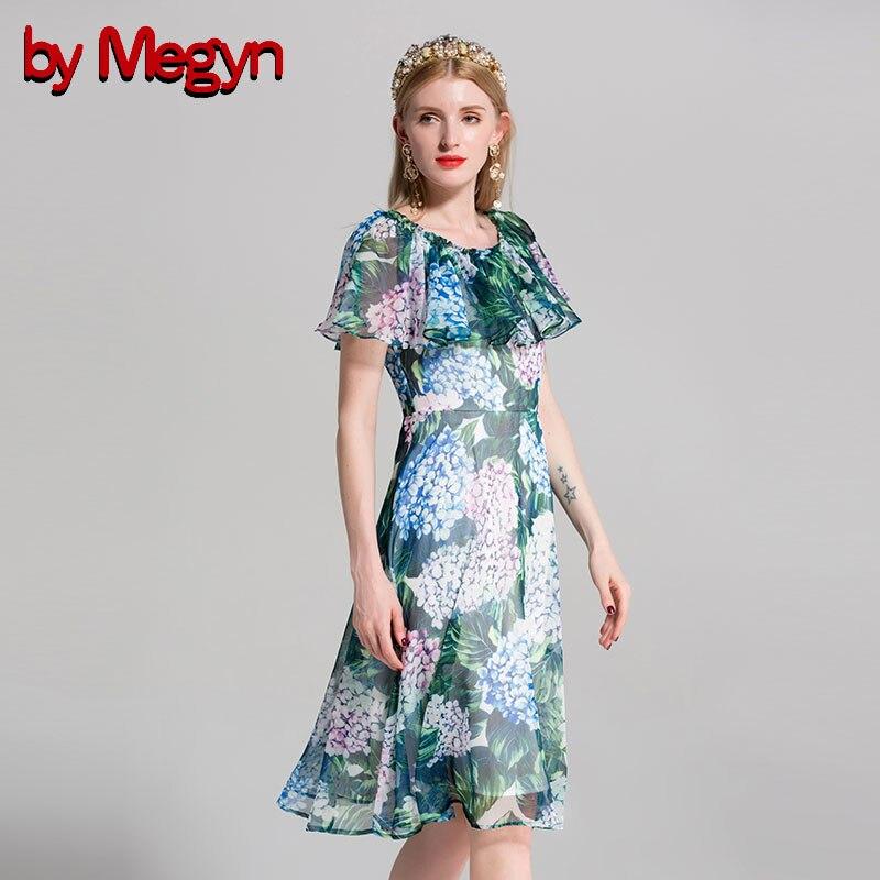 ff50b723e9ca7 Green Ruches Megyn D'été Floral Femmes Femme Piste De D'o Haute Douille Imprimé  Robe Robes Parti Vert 2018 ...
