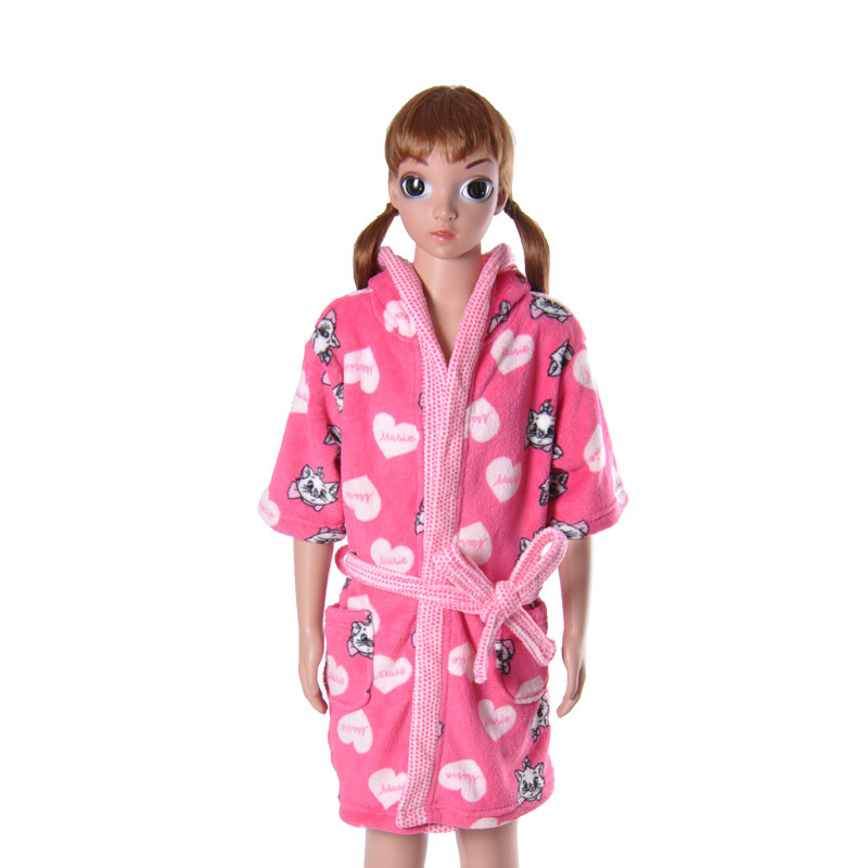 children 39 s pink bathrobe soft coral fleece cartoon cat. Black Bedroom Furniture Sets. Home Design Ideas