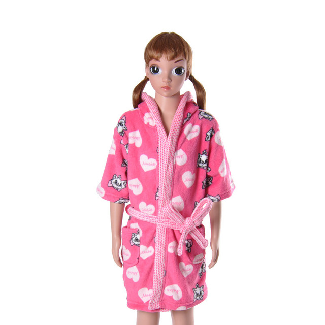 Children\'s Pink Bathrobe Soft Coral Fleece Cartoon Cat Marie Loving ...