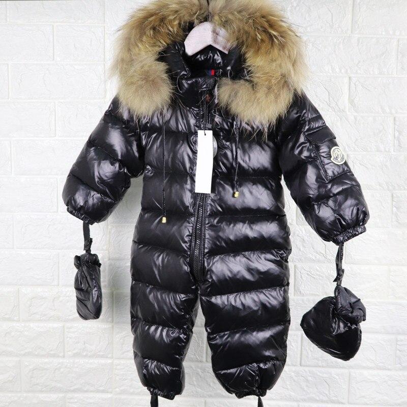 Baby Snowsuit Winter Jumpsuit Newborns Snow Wear Clothes Down Fur Jacket Kids Girls Coats Infant   Rompers   for Boy Parka Overalls
