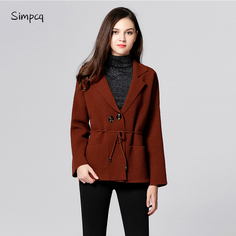 New Casaco Feminino   Trench   Coat Feminino Casual Turn-down Winter Autumn Collar Adjustable Waist Navy Wine Army Wool Women