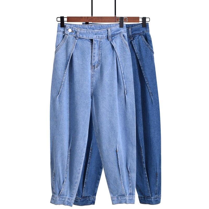 Autumn New Women High Waist   Jeans   Femme Casual Lantern Harem Pants Women Pantalon Femme Denim Loose Ladies   Jeans   Trousers C4914