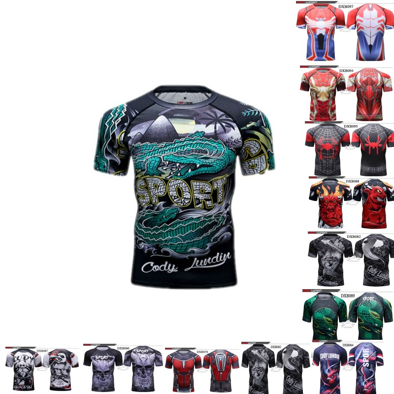 Shark 3D Pattern Sweatshirt Men's Compression Shirt Gym T-shirt Boxing Suit Mma Fitness Wear Running Shirt Venom Series