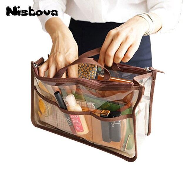 Waterproof Clear Handbag Organizer Double Zipper See Through Cosmetic  Insert Purse Organiser Transparent Makeup Travel Pouch 2f9a8f3b86694