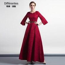S-XXXL de La Vendimia Jacquard de Las Mujeres Plisado Oscilación Maxi Partido Vestido de Noche Rojo Más El Tamaño 2/3 de La Manga Vestidos Largos de Lujo Bata DH1017
