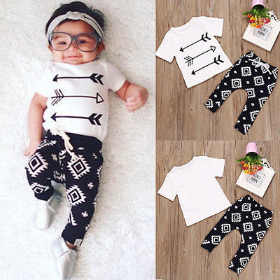 2017 Newborn Infant Baby Boy Girl Clothes Arrows T-shirt Tops+Long Pants 2pcs Outfits Toddler Kids Clothing Set newborn infant kids baby boy clothes set t shirt tops pants camouflage pants baby boys clothing outfits set