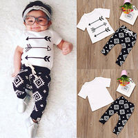 2017 Newborn Infant Baby Boy Girl Clothes Arrows T-shirt Tops+Long Pants 2pcs Outfits Toddler Kids Clothing Set