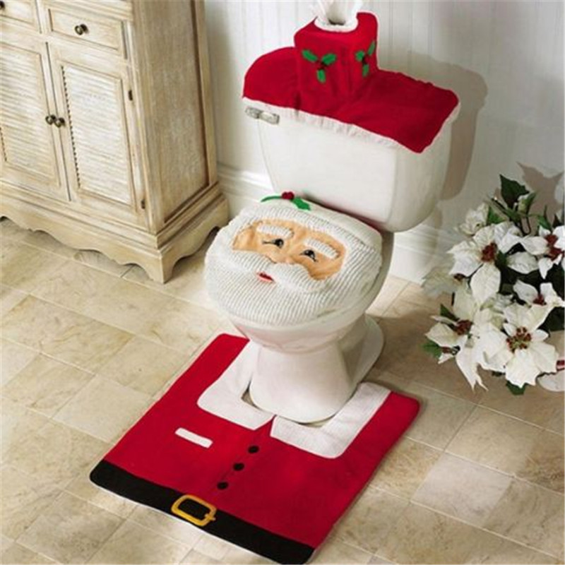Xueqin 3pcs/lot Toilet Seat Cover With Rug Set Christmas Santa Claus Snowman Pattern Bathroom Toilet Christmas Gifts