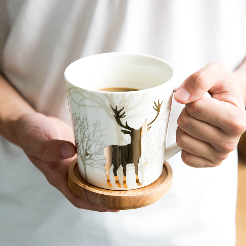 Nordic Style Milu Deer Cups with Lid and Spoon Ceramic Mugs Coffee Cup Milk Tea Cup Large Capacity Morning Mug 650ml Xmas Gifts