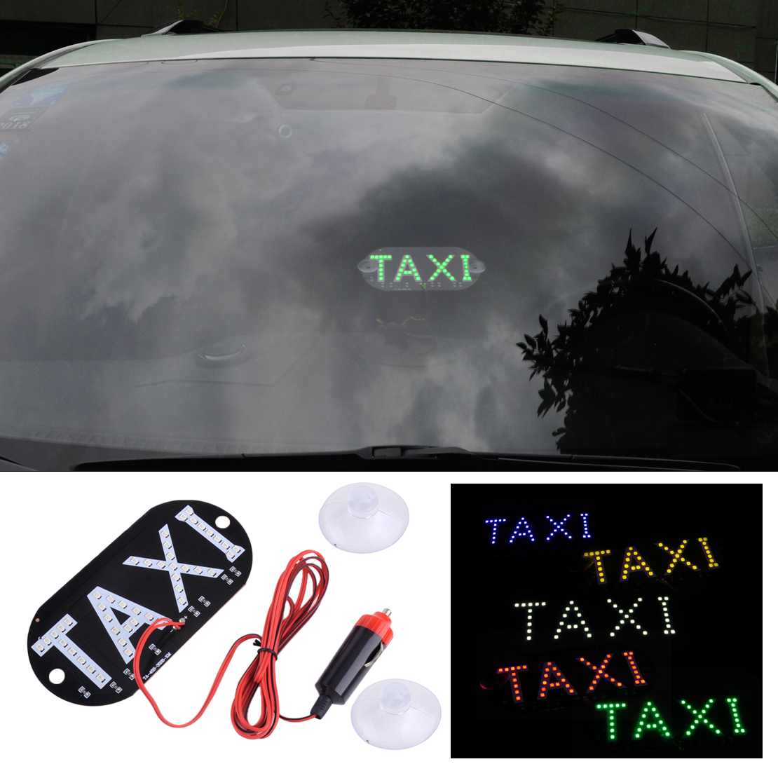 DWCX Universal 12V Car 45 LED Inside Cab Roof Taxi Sign Light Glass Fiber Board Windscreen Lamp For VW Jetta Audi Honda Hyundai 12v taxi magnetic base roof top cab led sign light lamp with cigarette lighter