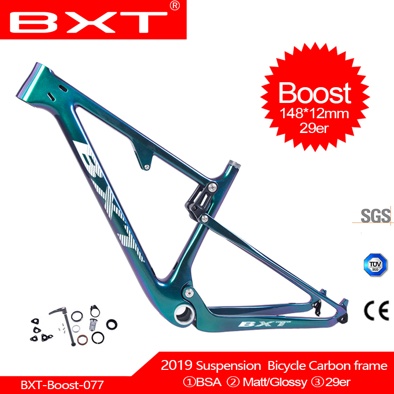 BXT NEW 29er Full Suspension Carbon Frame Boost 148*12/142*12mm Mountain Cycling Bicycle Frame Bicycle Parts Free Shipping