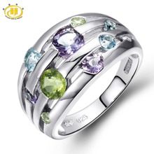 Hutang Natural Peridot Amethyst Blue Topaz Solid 925 Sterling Silver Ring Colorful Gemstones Fine Jewelry