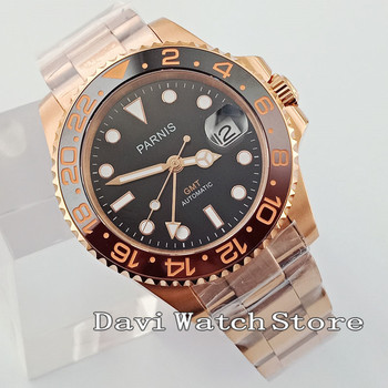 40mm Black Dial Roes Gold Stainless Steel Strap GMT Automatic Mens Watch 2704