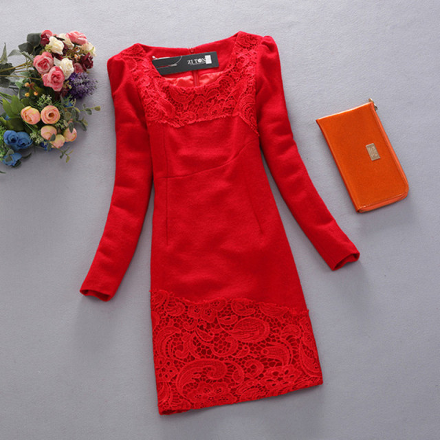New 2016 Autumn Winter Plus Size Wool Dress Fashion Lace Patchwork Long Sleeve Slim Dresses Red Black Casual Dresses G1947