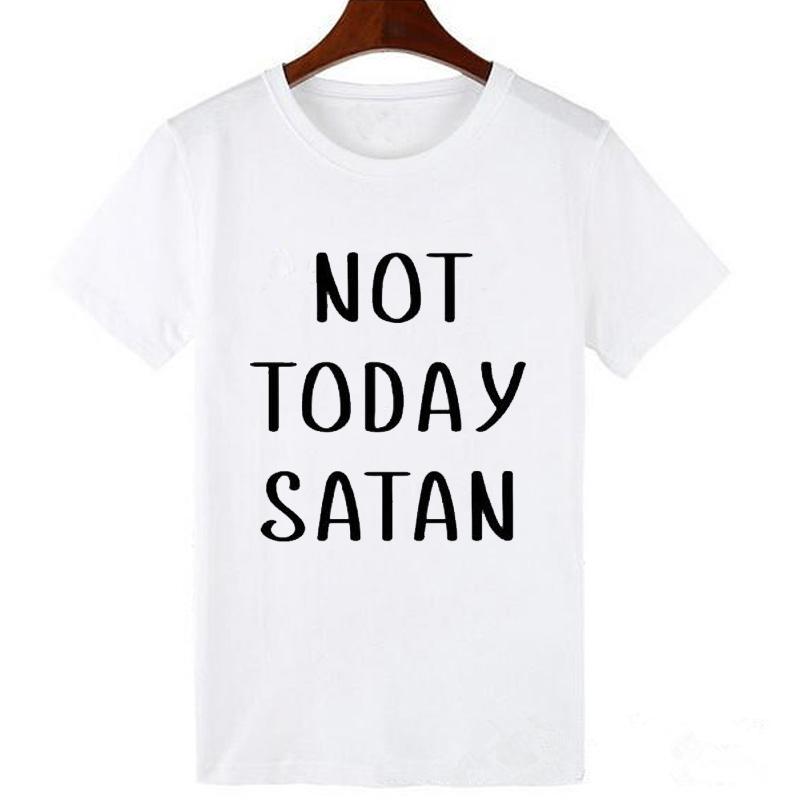 fb36dbd451 Pkorli Not Today Satan T Shirt Women Cotton Short Sleeve Funny ...
