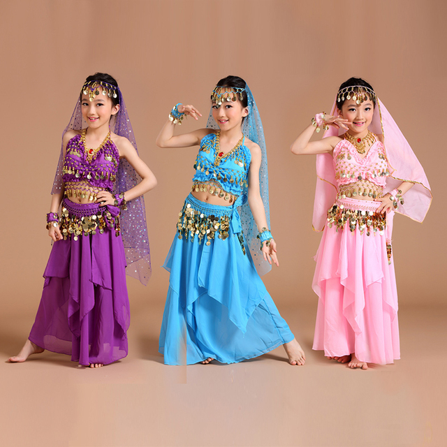 5 stücke 1 set Mädchen Bauchtanz Kostüme Kinder Bauch Tanzen Mädchen Bollywood Indische Leistung Dancewear Kinder Oriental Dance