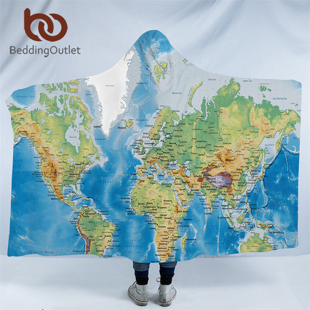 BeddingOutlet World Map Hooded Blanket Adults Microfiber Sherpa