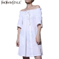 TWOTWINSTYLE 2017 Sexy Off Shoulder Summer Dress For Women Lace Up Tunic Bandage Female Mini Shirt