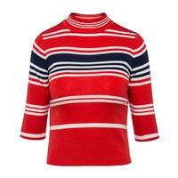 Sisjuly Women S Sweater Wool Blends O Neck Casual Striped Pullovers Long Sleeve Orange Red Slim