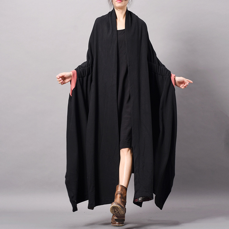 Johnature Black   Trench   For Women Bat Sleeve Coats 2019 Spring New Casual Cardigan Plus Size Women Cloths Fashion Cotton   Trench