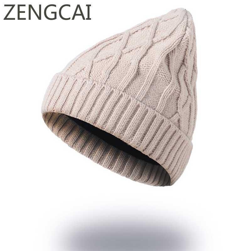 Knitted   Skullies     Beanies   Hats Women Winter Woolen Cap Solid Color Men Knit Crochet Slouchy Hat Fashion Unisex Warm   Beanie   Caps