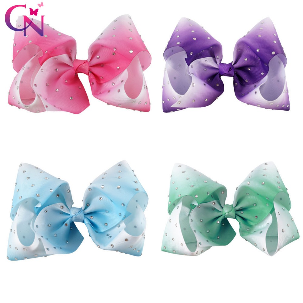 8 Pcs/lot 7 Ombre Ribbon Rhinestone Bows With Clip For Kids Girls Handmade Large Crystal Hair Bows Hairgrips Hair Accessories halloween party zombie skull skeleton hand bone claw hairpin punk hair clip for women girl hair accessories headwear 1 pcs
