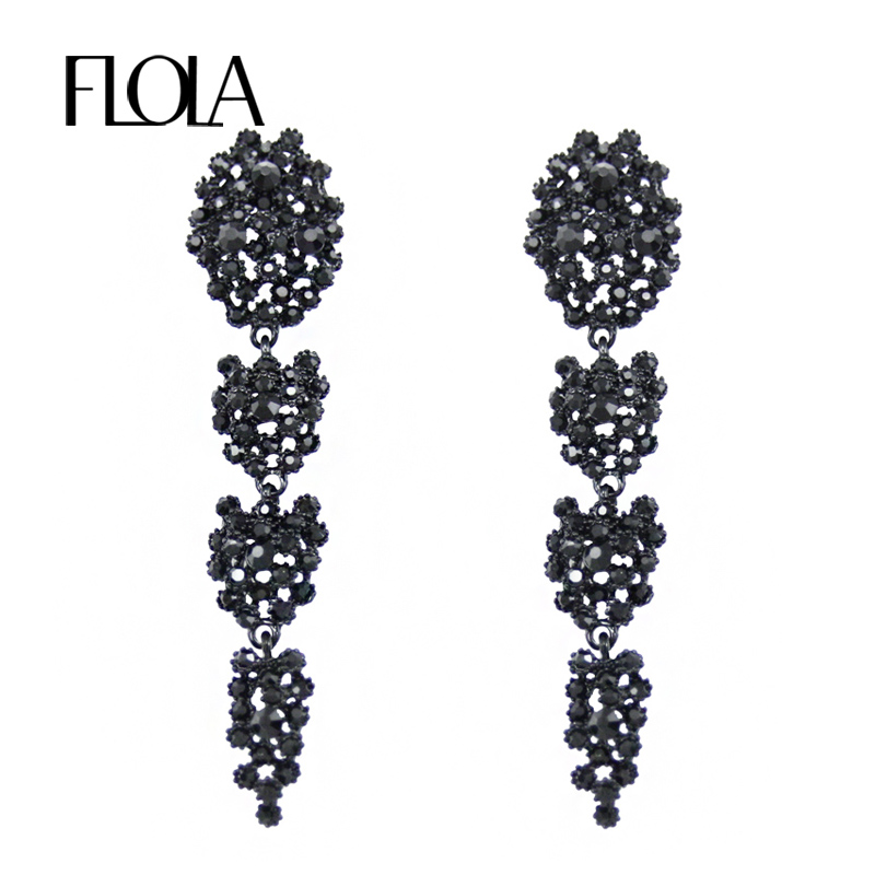 6ba2ef813aba4 Detail Feedback Questions about FLOLA Large Black Long Earrings for Women  Fashion Accessories Jewelry Rhinestones Party Crystal Big Earrings with  Stones ...