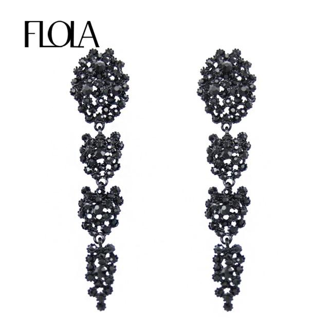 be435807206f Pendientes largos negros grandes FLOLA para mujer accesorios de moda  joyería diamantes de imitación fiesta cristal