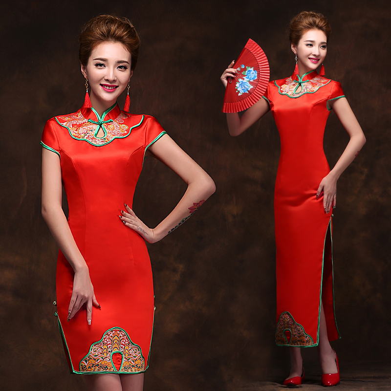 c566a8e1e 2015 new come M&T Red wedding long Qipao cheongsam short-sleeve Chineses  traditional Clothes short and long