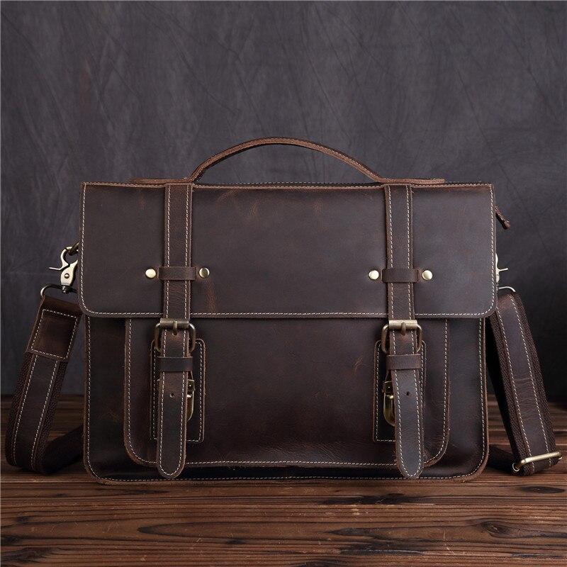 все цены на Men's Genuine Leather Handbag Cow male Executive Briefcase Nylon Vintage Man Shoulder Bag Crossbody Totes Messenger Bags SDM1159 онлайн