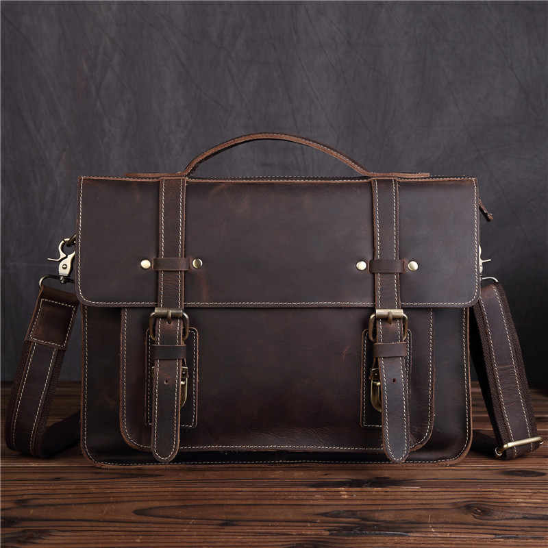 Men's Genuine Leather Handbag Cow male Executive Briefcase Nylon Vintage Man Shoulder Bag Crossbody Totes Messenger Bags SDM1159