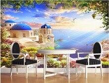 3dルーム壁紙カスタム写真を海カモメ船のエーゲ城絵画3d壁壁画壁紙壁用3 d