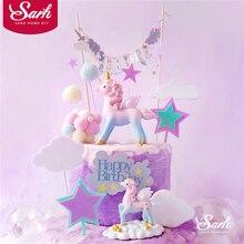 Decoración de cumpleaños de unicornio rosa y azul, decoración de pastel de escritura a mano brillante para fiestas infantiles, suministros de bolas de pelo, regalos encantadores