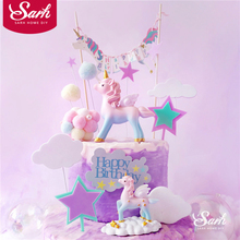 Pink blue Unicorn Birthday Decoration Shiny Hand Writing Cake Topper for Childrens Day Party Hairballs Supplies Lovely Gifts