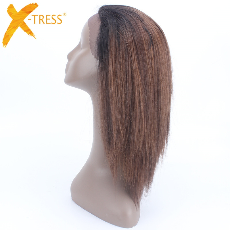 X-TRESS Medium Long 24 inches Straight Hair Synthetic Lace Front Heat Resistant Wigs Ombre Medium Brown Free Parting For Women